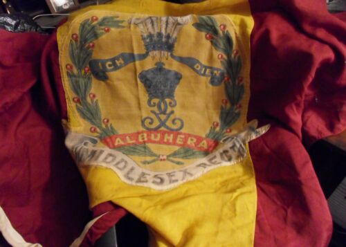 """BEAUTIFUL AND RARE MIDDLESEX  REGIMENT LARGE BARRACKS FLAG """"DIE-HARDS """""""
