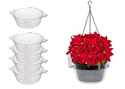 Curtis Wagner Plastics Plant Hanging Basket Drip Pans (5-Pack, Clear, -