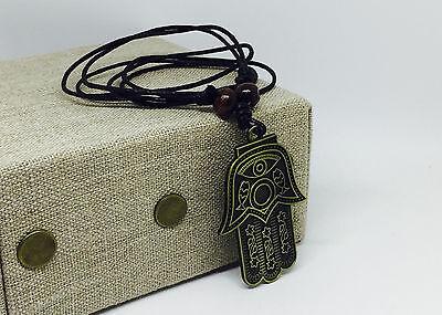 Hamsa Hand Necklace Jewish Judaica Hanukkah Amulet Protection Pendant (Jewish Protection)