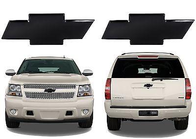 Front & Rear Black Billet Bowtie Emblems For 2007-2012 Chevrolet Tahoe/Suburban