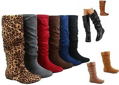 NEW Women's  Faux Suede Leather Flat Heel Mid-Calf Knee High Boots Size 6 - -