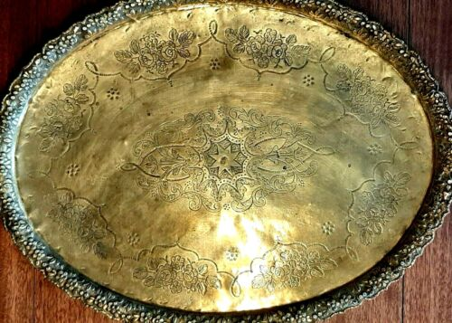 Brass Tray - Antique Moroccan Oval Serving Platter - Middle Eastern Arabic Marks