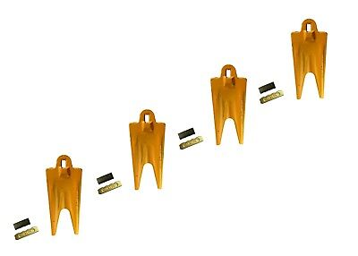 4 Esco Style 18 Series Mini Ex Backhoe Bucket Twin Tiger Rock Teeth W Pins