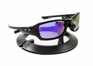 OAKLEY FIVES SQUARED POLISHED BLACK FRAME / REVANT PURPLE POLARIZED CUSTOM LENS