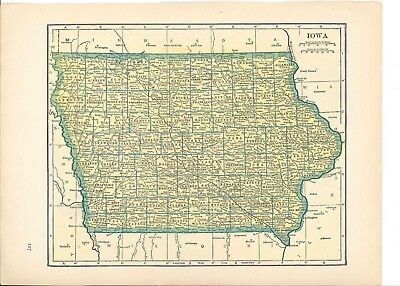 1942 Vintage IOWA Map ready to frame for art