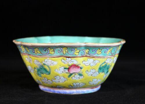 "Antique Chinese Porcelain Famille Rose 5"" Scalloped Rim Bowl"