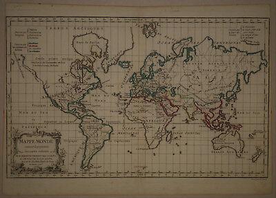 1778 Genuine Antique map of the world. Mappe-Monde. by R. De Vaugondy