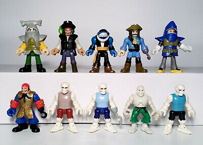 Fisher-Price Imaginext Lot of 10 Pirate Ships Shark Bite Skeleton Figures