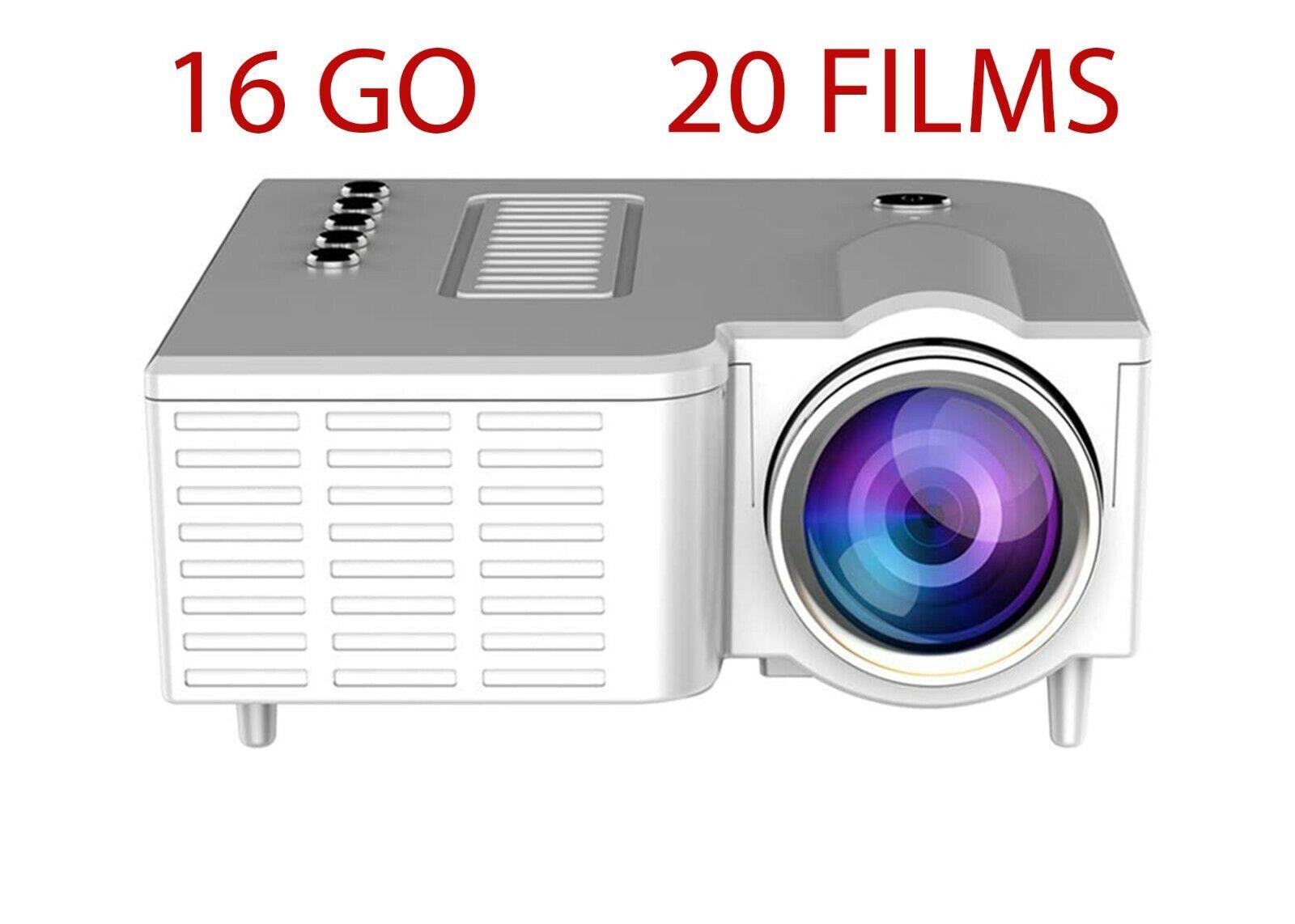 Mini vidÉoprojecteur avec carte sd 16 go et 20 films servi qu'une fois en boite