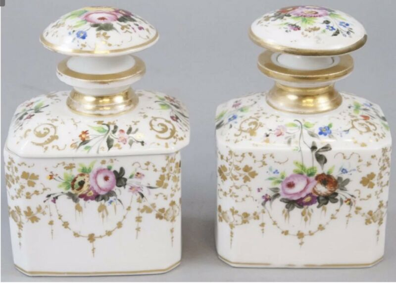 Antique Imperial Russian porcelain Vanity Set Perfume And Jar