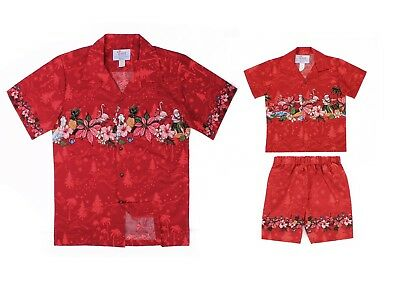 Hawaii Hangover Christmas Father Son Matching Luau Outfit in Santa Cross Red](Father Xmas Outfits)