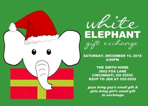 White Elephant Gift Exchange Holiday Christmas Party Invitation