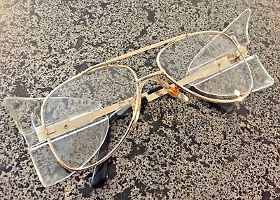 Stylish Retro Aviator Safety Glasses Gold Frame Clear Lens Crews Engineer (Fashionable Safety Glasses)