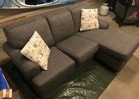 1 ½ year old Décor-Rest Charcoal Force Sofa, with Chaise
