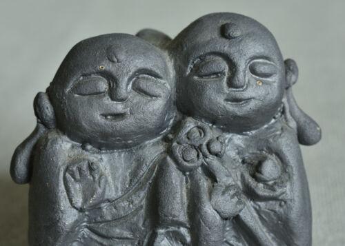 Japanese Old Clay Bell Dorei mede of Ibushi-yaki : design Pair Monks