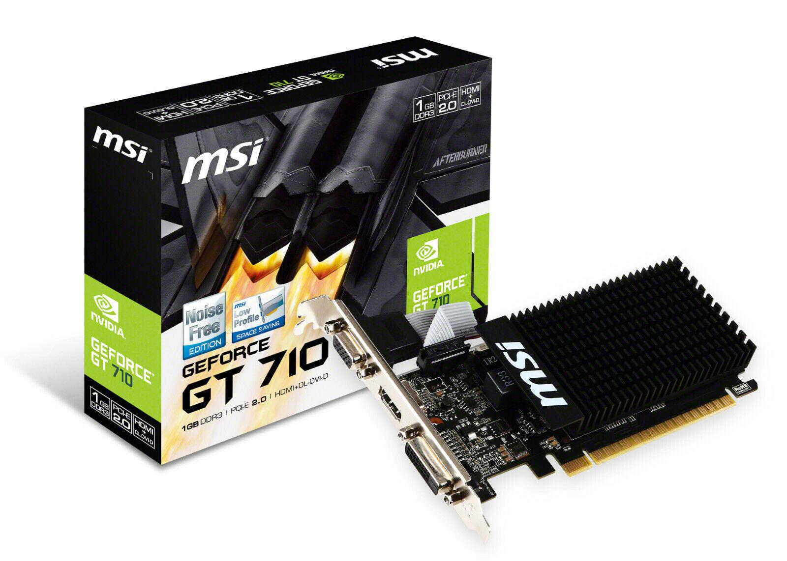 MSI ~~ GeForce GT 710 ~~ 1 GB GDDR3 ~~ PCIe 2.0 x16 HDMI+DVI+VGA Grafikkarte PAS