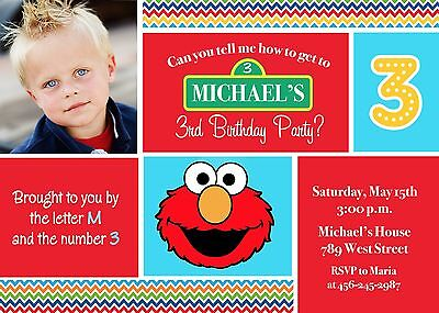 Elmo, Sesame Street, Elmo Invitation, Birthday Party - Elmo Birthday Party Invitation