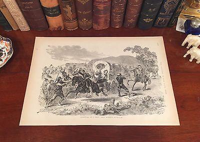 Antique Panoramic Map Print - Original Antique Civil War CONFEDERATE TRAIN Panoramic Map Wood Engraved Print