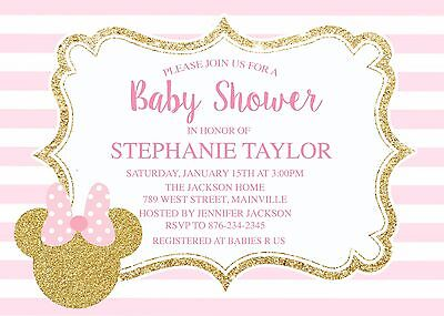 Minnie Mouse, Pink, Gold, Girl, Baby Shower, Minnie Baby,  Invitation
