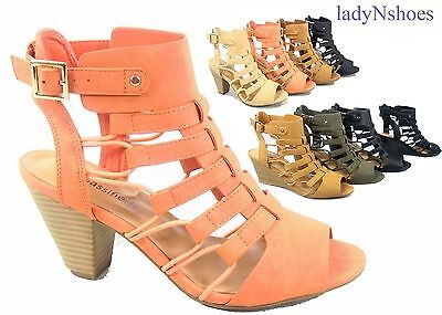 New Womens Open Toe Buckle Chunky Heel Gladiator Sandals Shoes Size 5 5   11