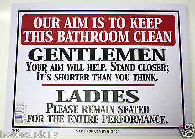 Bathroom Signs To Keep Clean our aim is to keep bathroom clean men women toilet novelty sign 9