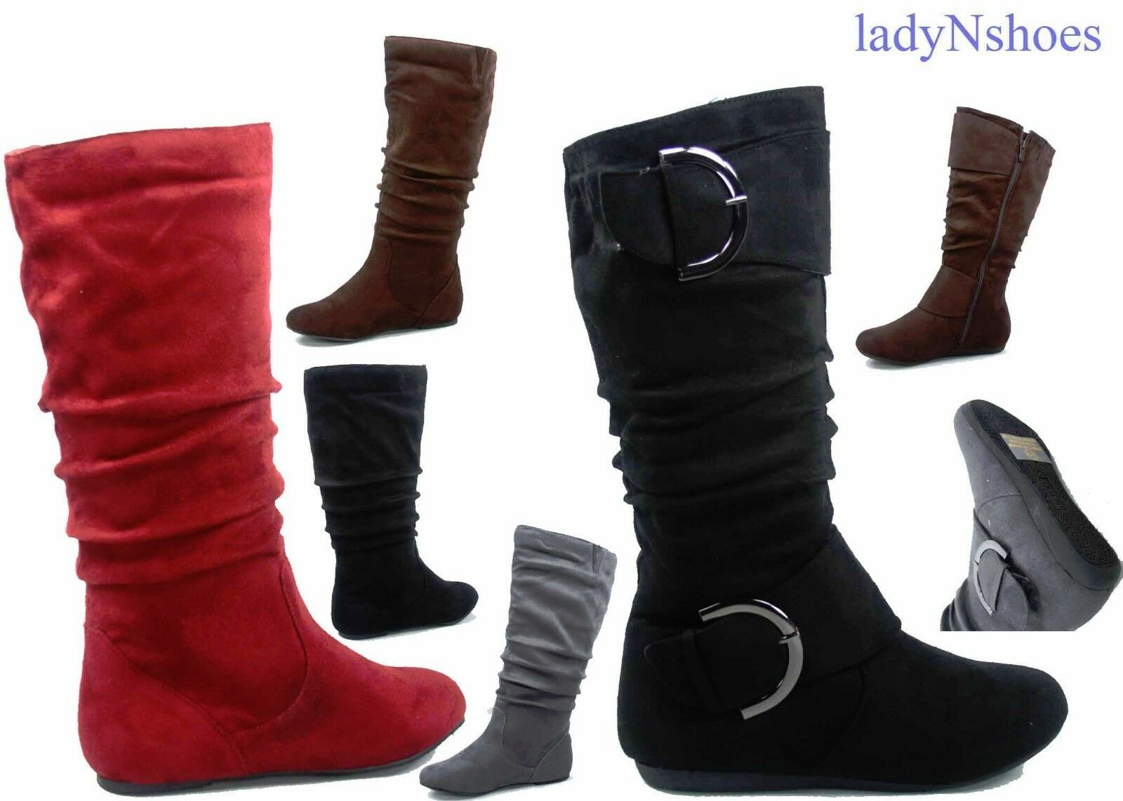 NEW Women's Comfort  Faux Suede Round Toe Flat Mid-Calf Boot