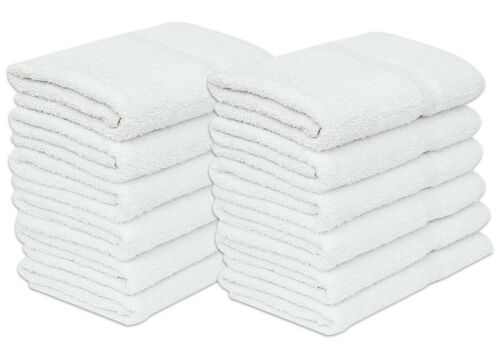 12 Pack White Economy Bath Towel ( 24 x 48 Inches ) Cotton Blend