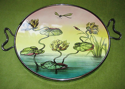 Jugendstil Tortenplatte Keramik Nickel -Seerosen-