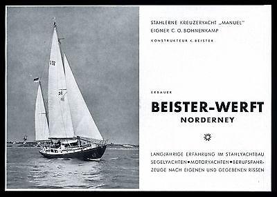 Grosse Werbung 1958 Stählerne Kreuzeryacht MANUEL (1) Beister-Werft Norderney
