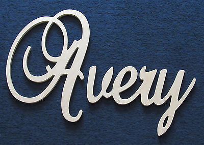 Small Elegant Script Decorative Wooden Wall Name Connected Letters Unpainted