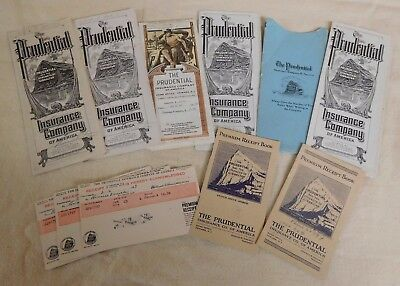 Lot Of Vintage Prudential Insurance Policy Brochure And Receipt Books Nj  Th183