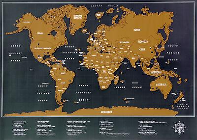XL Rubbel Weltkarte 82x60cm zum Rubbeln für Weltenbummler Reise Poster Landkarte