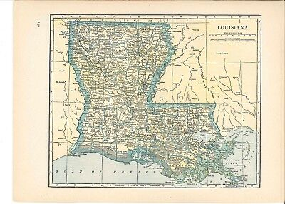 1942 Vintage LOUISIANA Map ready to frame for art