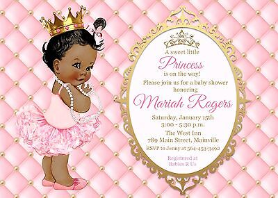 Princess Baby Shower Pink and Gold Invitations - Princess Invitations