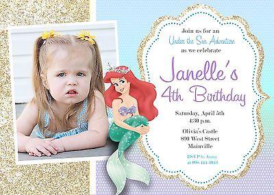 Little Mermaid, Princess, Ariel, Birthday Party Invitation](Ariel Invitations)