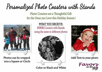 4 Personalized Photo Coasters Unique Hoilday Gifts Mom Grandma Wife - Personalized Photo Coasters