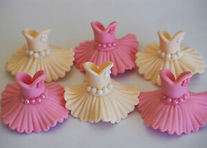 6 princess dress cupcake topper edible tutu ballerina for Angelina ballerina edible cake topper decoration sale