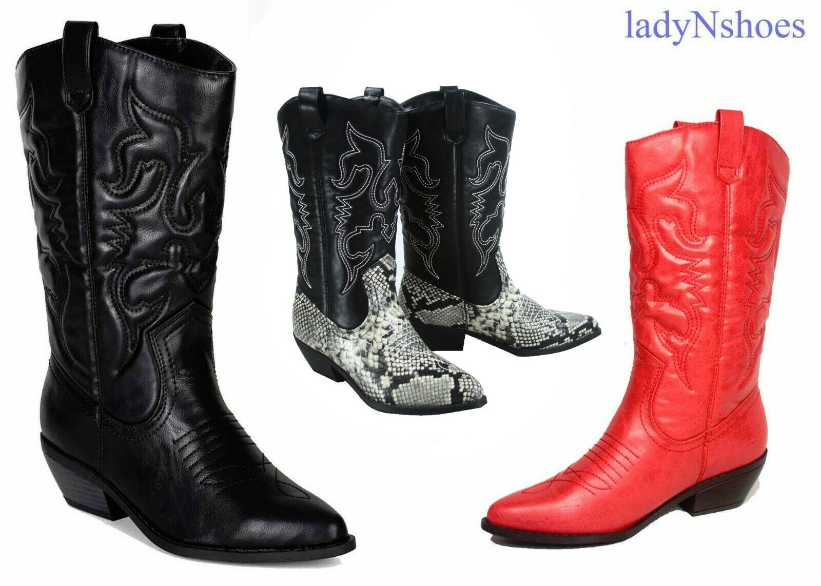 NEW Women's Pointed Toe Cowboy Western Low Heel Mid-Calf Rid