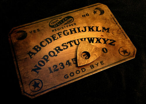 Wooden Ouija Board Set Distressed Vintage Antique Fuld Replica with Planchette