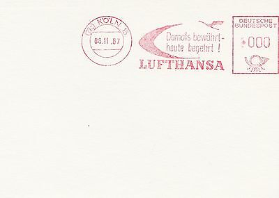 (91513) Germany Cover Lufthansa Cologne 29 Cologne 6 November 1957 on Lookza