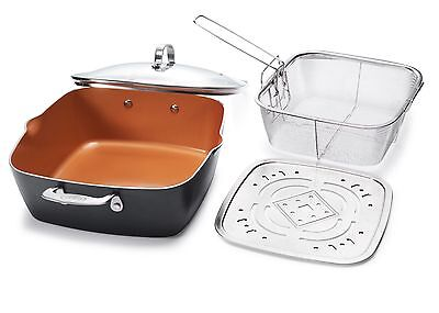 "Gotham Steel XL 11"" Copper Deep Square All in One 6 Qt Chef Pan- 4 Piece Set NEW"