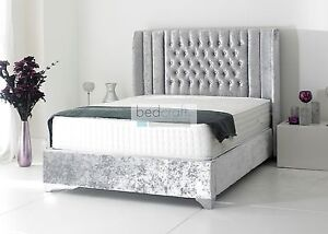 -upholstered-bed-frame-chesterfield-style-crushed-velvet-brown-silver