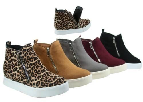 Women Casual Hidden Wedges Sport Heel High Top Sneaker Ankle