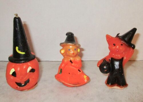 Gurley candle lot of 3 Halloween witch pumpkin cat in witch hat vintage decor