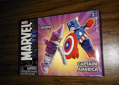 Marvel Universe Minimates CAPTAIN AMERICA RHINO 2 pack! 2004 Target Exclusive!