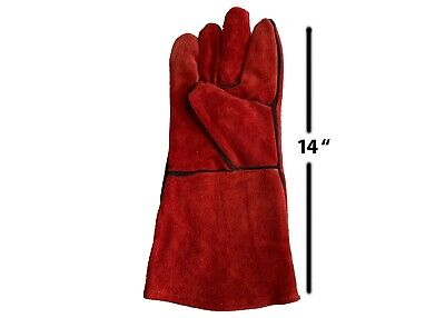 1- Pair Leather Welding Gloves 14 Size Largeheatfire Resistant Stovegrill