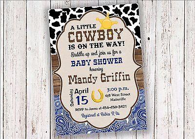 Cowboy, Western, Country, Boy, Baby Shower Invitation