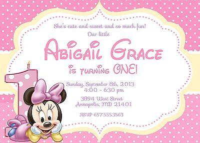 Minnie Mouse, Baby, First Birthday, One Year, Party, Invitation (Minnie Mouse First Birthday Invitations)