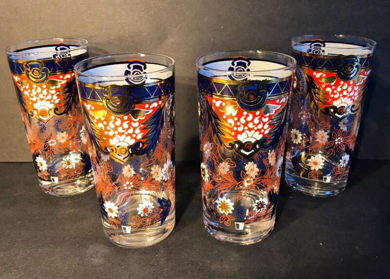 "Vintage Mid Century Set of 4 Cera ""Imari"" Pattern Highball Tumbler Glasses RARE"
