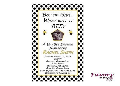 Bumble BEE Baby Shower Personalized Invitation with Ultrasound Photo - Bumble Bee Invitations